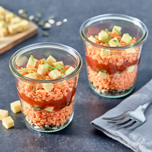 Hapje van rode linzen, tomaat & blokjes Nurishh®