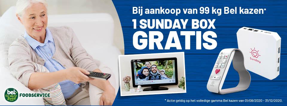 Spaar actie van 01/08 tot 31/12/20 : bij aankoop van 99kg bel kazen = 1 sunday box gratis